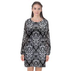 Damask1 Black Marble & Silver Glitter (r) Long Sleeve Chiffon Shift Dress