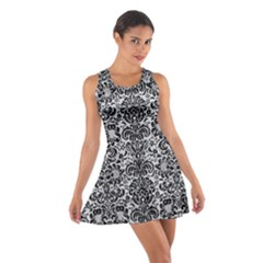 Damask2 Black Marble & Silver Glitter Cotton Racerback Dress