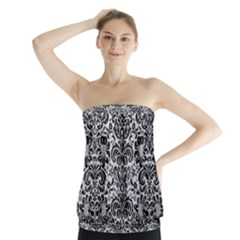 Damask2 Black Marble & Silver Glitter Strapless Top