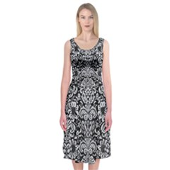 Damask2 Black Marble & Silver Glitter (r) Midi Sleeveless Dress