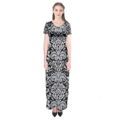 Damask2 Black Marble & Silver Glitter (r) Short Sleeve Maxi Dress