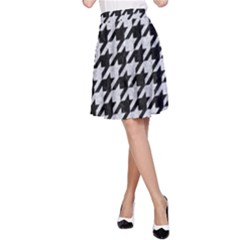 Houndstooth1 Black Marble & Silver Glitter A Line Skirt