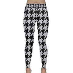 Houndstooth1 Black Marble & Silver Glitter Classic Yoga Leggings