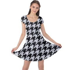 Houndstooth1 Black Marble & Silver Glitter Cap Sleeve Dress