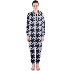 Houndstooth1 Black Marble & Silver Glitter Hooded Jumpsuit (ladies)