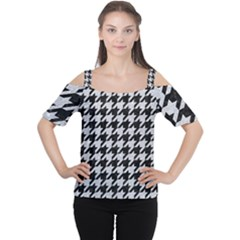 Houndstooth1 Black Marble & Silver Glitter Cutout Shoulder Tee