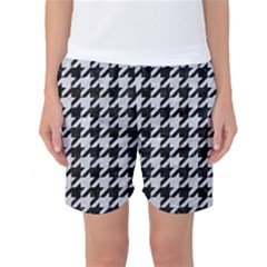 Houndstooth1 Black Marble & Silver Glitter Women s Basketball Shorts
