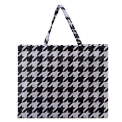 Houndstooth1 Black Marble & Silver Glitter Zipper Large Tote Bag