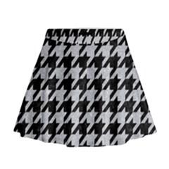 Houndstooth1 Black Marble & Silver Glitter Mini Flare Skirt