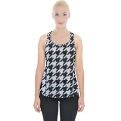 Houndstooth1 Black Marble & Silver Glitter Piece Up Tank Top