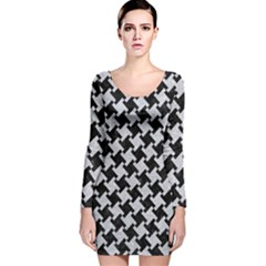 Houndstooth2 Black Marble & Silver Glitter Long Sleeve Velvet Bodycon Dress