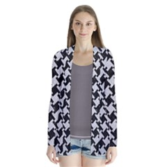 Houndstooth2 Black Marble & Silver Glitter Drape Collar Cardigan