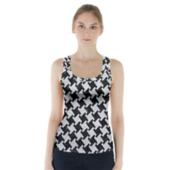 Houndstooth2 Black Marble & Silver Glitter Racer Back Sports Top
