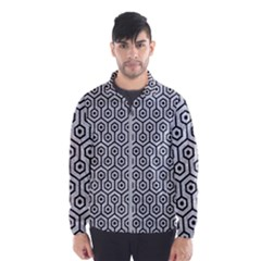 Hexagon1 Black Marble & Silver Glitter Wind Breaker (men)