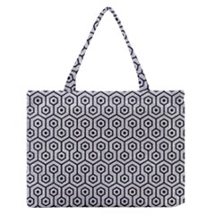 Hexagon1 Black Marble & Silver Glitter Zipper Medium Tote Bag