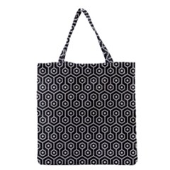 Hexagon1 Black Marble & Silver Glitter (r) Grocery Tote Bag