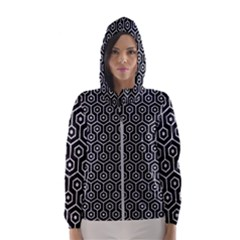 Hexagon1 Black Marble & Silver Glitter (r) Hooded Wind Breaker (women)