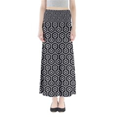 Hexagon1 Black Marble & Silver Glitter (r) Full Length Maxi Skirt