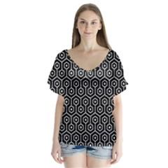 Hexagon1 Black Marble & Silver Glitter (r) V Neck Flutter Sleeve Top