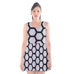 Hexagon2 Black Marble & Silver Glitter Scoop Neck Skater Dress