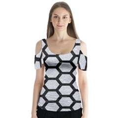 Hexagon2 Black Marble & Silver Glitter Butterfly Sleeve Cutout Tee