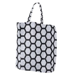 Hexagon2 Black Marble & Silver Glitter Giant Grocery Zipper Tote