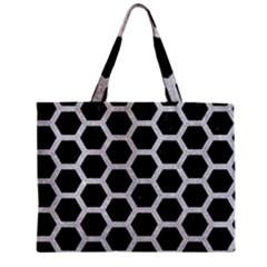 Hexagon2 Black Marble & Silver Glitter (r) Zipper Mini Tote Bag