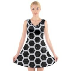 Hexagon2 Black Marble & Silver Glitter (r) V Neck Sleeveless Skater Dress