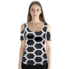 Hexagon2 Black Marble & Silver Glitter (r) Butterfly Sleeve Cutout Tee