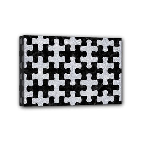 Puzzle1 Black Marble & Silver Glitter Mini Canvas 6  X 4