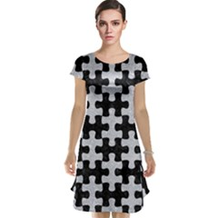 Puzzle1 Black Marble & Silver Glitter Cap Sleeve Nightdress