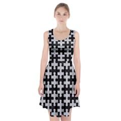 Puzzle1 Black Marble & Silver Glitter Racerback Midi Dress