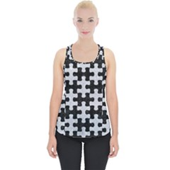 Puzzle1 Black Marble & Silver Glitter Piece Up Tank Top
