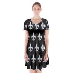Royal1 Black Marble & Silver Glitter Short Sleeve V Neck Flare Dress