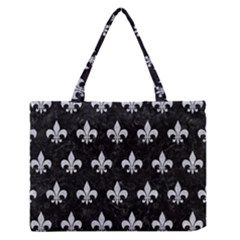 Royal1 Black Marble & Silver Glitter Zipper Medium Tote Bag