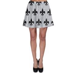 Royal1 Black Marble & Silver Glitter (r) Skater Skirt