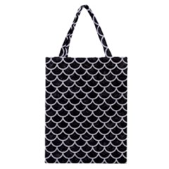 Scales1 Black Marble & Silver Glitter (r) Classic Tote Bag