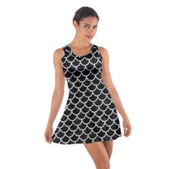 Scales1 Black Marble & Silver Glitter (r) Cotton Racerback Dress