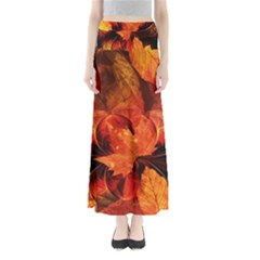 Ablaze With Beautiful Fractal Fall Colors Full Length Maxi Skirt