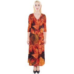 Ablaze With Beautiful Fractal Fall Colors Quarter Sleeve Wrap Maxi Dress