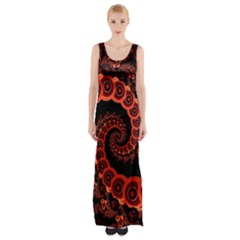 Chinese Lantern Festival For A Red Fractal Octopus Maxi Thigh Split Dress