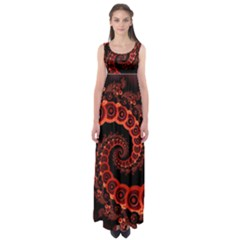 Chinese Lantern Festival For A Red Fractal Octopus Empire Waist Maxi Dress