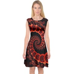 Chinese Lantern Festival For A Red Fractal Octopus Capsleeve Midi Dress