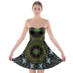 Leaf Earth And Heart Butterflies In The Universe Strapless Bra Top Dress