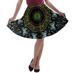 Leaf Earth And Heart Butterflies In The Universe A Line Skater Skirt