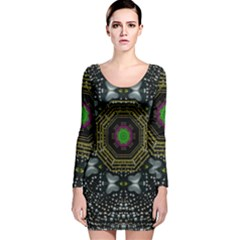 Leaf Earth And Heart Butterflies In The Universe Long Sleeve Velvet Bodycon Dress
