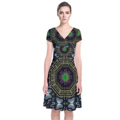 Leaf Earth And Heart Butterflies In The Universe Short Sleeve Front Wrap Dress