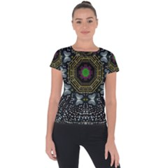 Leaf Earth And Heart Butterflies In The Universe Short Sleeve Sports Top