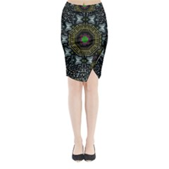 Leaf Earth And Heart Butterflies In The Universe Midi Wrap Pencil Skirt