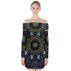 Leaf Earth And Heart Butterflies In The Universe Long Sleeve Off Shoulder Dress